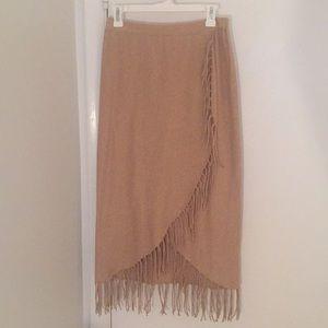Tan fringe asymmetrical midi skirt